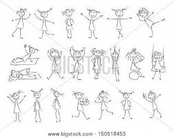 150518453 sketch drawing little girls in different poses vector set in on coloring set for girls