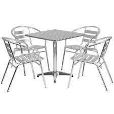 27 5 square aluminum indoor outdoor table set with 4 slat back chairs