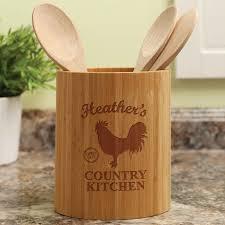 Kitchen Utensil Holder Country Kitchen Personalized Bamboo Utensil Holder Personalized