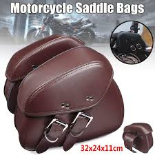 product details of pair brown pu leather motorcycle tool bag luggage saddle bags for harley