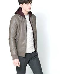 exotic zara mens quilted leather jacket faux leather hooded jacket 2 zara man faux leather quilted
