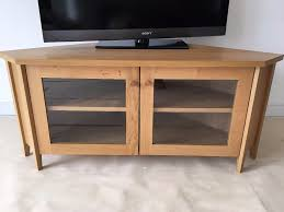 ikea skoghall oak corner tv media unit stand glass doors adjule shelf