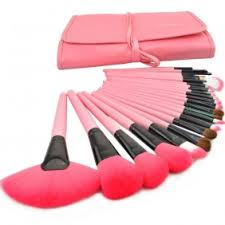 24 pcs professional make up makeup cosmetic brush set with pink leather case pink