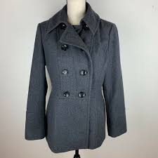 details about michael kors womens gray charcoal wool blend double ted pea coat small