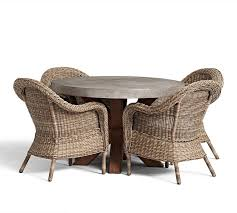 abbott round dining table torrey roll arm chair set natural pottery barn