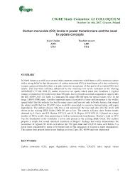 Pdf Carbon Monoxide Co Levels In Power Transformers And