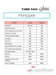 Yard Sale Pricing Chart How Do I Price Items For A Garage Sale