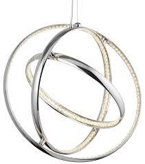 gyro 3 light led chrome ring pendant