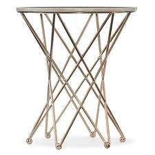 furniture highland park round end table with marble top