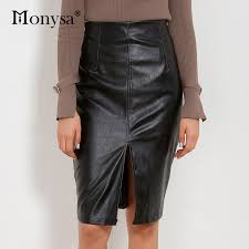 pu leather con woman skirts 2017 autumn winter streetwear plus size black pencil skirts y high