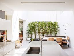kitchen metal counter white cabinet and undermount sink a wall of bamboo adjacent on dwell metal wall art with photo 8 of 13 in an impressive 20 foot skylight transforms a jumbled