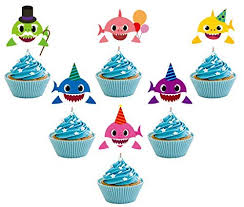 24 Pieces Cute Shark Cupcake Toppers 6 Colorslaughing Shark