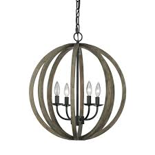 w 4 light weathered oak wood antique forged