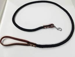 rope dog leash with leather handle by essencial pets 3 4 width
