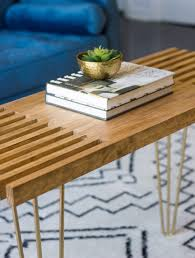 Diy coffee table plans with built in shelves would be all amazing to get a coffee table with storage. Diy Slatted Coffee Table With Hairpin Legs Erin Spain