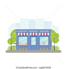 Bakery Shop Store Front Vector Illustration In Flat Design Bakery