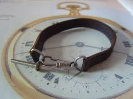 pocket watch chain albert vintage brown leather chrome t bar dog clip la111543 loveantiques com