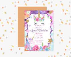 celebration invite unicorn party invitation magical unicorn celebration invite you print 5x7 digital invitation unicorn party decor unicorn card