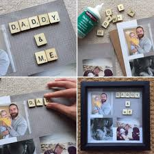 scrabble tile box frame fathers day gift for him