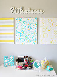 easy diy wall art yellow gray turquoise