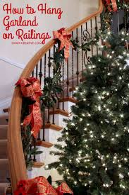 Cascading garland is a gorgeous way to decorate the staircase, but can seem  to be