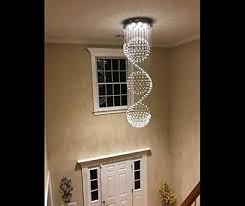 modern k9 crystal chandelier light fixture led spiral sphere rain drop ceiling