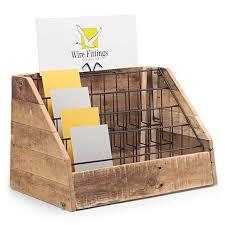 organic wood counter top greeting card display stand