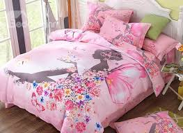 73 flower fairy printed cotton 4 piece pink duvet covers bedding sets
