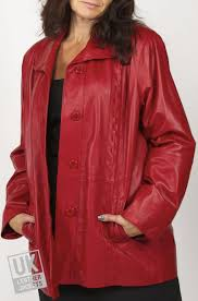 las red leather jacket laura plus size front