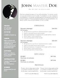 Word Document Resume Template Word Doc Free Resume Templates