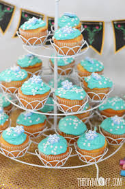frozen cupcakes with snowflake sprinkles