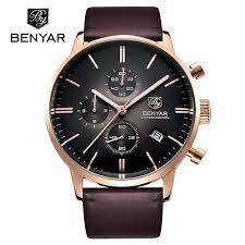 aliexpress com buy reloj hombre 2016 benyar fashion leather reloj hombre 2016 benyar fashion leather strap mens watches top brand luxury stainless steel case quartz