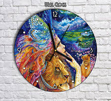 Home office colorful girl Handmade Colorful Girl And Lions Lion Artwork Round Wall Clock For Home Office Decor Ebay Acrylic Lions Wall Clocks Ebay