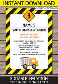 Downloadable Birthday Invitations Construction Party Invitations Template Birthday Party