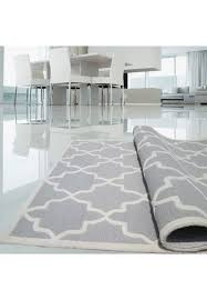 light grey and ivory hand tufted area rug 100 natural wool moroccan trellis