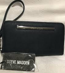 steve madden navy blue wristlet wallet zip around new