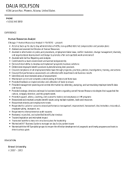 Human Resources Analyst Resume Sample Velvet Jobs