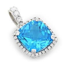 14k white gold brilliant blue topaz gemstone diamond pendant 0 72ct 14k white gold
