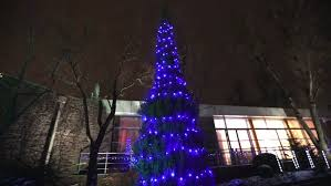 view modern house lights. Exterior Of Modern House Or Restaurant, The Christmas Lights Are Lit On Trees, In Night Sky, Camera Movement, Tree Decorated With Lights, View