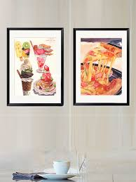 food painting squared wall art with frame  on wall art pictures of food with food painting squared wall art with frame