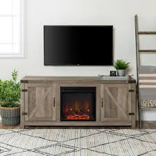 walker edison furniture company 58 in grey wash barn door fireplace tv stand hd58fpbdgw the home depot