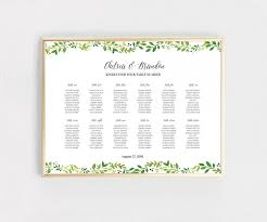 Digital Seating Chart Wedding Green Leafs Printable Wedding Seating Chart Sign Digital