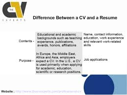 ... Difference Between a CV and a Resume; 5.