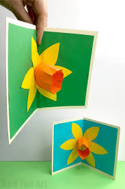 Daffodil Paper Flower Pattern 3d Pop Up Daffodil Card Red Ted Arts Blog