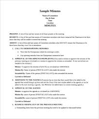 Simple Minutes Of Meeting Sample Sample Meeting Minutes Template Business