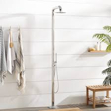 Outdoor Shower Cavendish Thermostatic Freestanding Outdoor Shower With Brass Hand