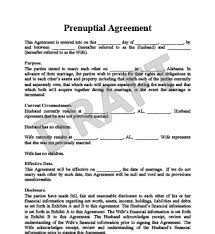 prenup samples prenup sample agreement