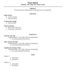 High School Student Resume Examples First Job Examples Of Resumes