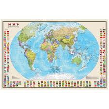 """<b>Карта</b> """"<b>Мир</b>"""" <b>политическая DMB</b>, 1:30млн., 1220*790мм, с флагами"""