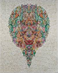 Faces  Oriole Wujianan, 2014, Hand dyed and waxed paper cut, 81 X